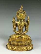 18th/19th C GILT BRONZE BUDDHA FIGURE OF TARA