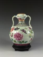 A RARE FAMILLE ROSE GARDEN FLOWERS VASE W STAND