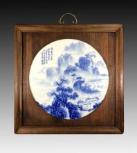 20th C. BLUE AND WHITE FRAMED ROUND PORCELAIN PAINTING