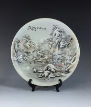 CHINESE FAMILLE ROSE ROUND PORCELAIN PLAQUE