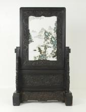 A PORCELAIN PAINTING TABLE SCREEN