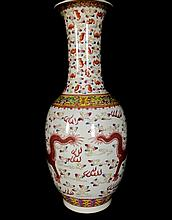 Late Qing Dynasty Chinese Famille Rose Porcelain Vase