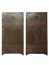 Pair of Chinese HuangHuaLi Large Cabinets