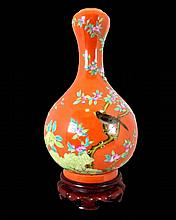 Chinese Famille Rose Porcelain Vase w/ Stand