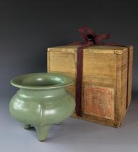 IMPORTANT SONG DYNASTY LONGQUAN CELADON CENSER