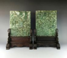 PAIR OF SPINACH-GREEN JADE TABLE SCREENS