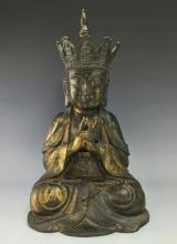 MASSIVE MING GILT BRONZE BUDDHA FIGURE OF GUANYIN