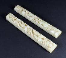 PAIR OF CARVED WHITE JADE PAPER WEIGHTS
