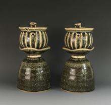 PAIR JIZHOU WARE LAMPS