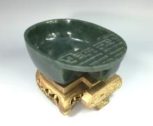 CARVED SPINACH GREEN JADE BRUSH WASHER W/ GILTWOOD BASE