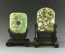 PAIR OF CARVED JADE TABLE SCREEN