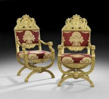 PAIR OF CONTINENTAL GILTWOOD ARMCHAIRS