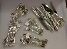 Gracious Set of Rocaille Sterling French Flatware by Ercuis.  Eight Five Place Settings.  40 Pieces.
