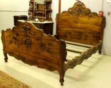 19th Century Carved Country French Bed