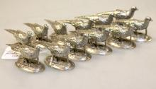 Set of Twelve Pewter Pheasant Name Plates