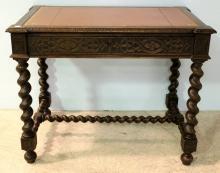 Louis XIII leather top desk