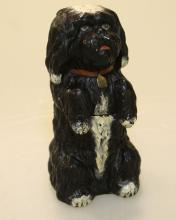 Austrian Terra Cotta 19th Century Dog jar with lid