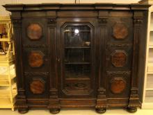 Large Triple Section Oak Belgium Bookcase