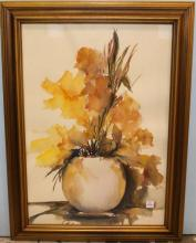 Watercolor of Flowers in Vase by Parker