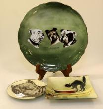 Three Painted Dog Plates