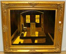Contemporary Painting of Chair in the Hall by Larry Sartin