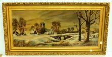 Victorian Oil Painting of a Farm in the Winter