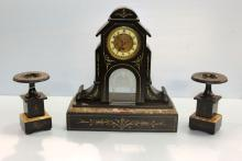Eastlake Slate Mantel Clock Set