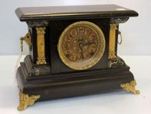 Early 20th Century Black Slate Mantel Clock