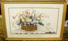 Large Watercolor of Flowers in Planter