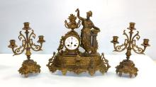 19th Century Three Piece Spelter Clock Set