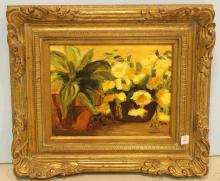 Oil Painting of Flowers in Pot Signed Sturgis