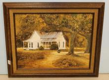 Oil Painting of Country House Signed N. Jackson