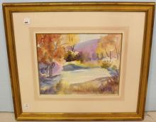 Watercolor of Stream Signed Edwina Goodman