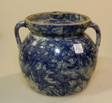 Jerry Brown Blue Spongeware Butter Jar