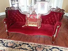 Red Velvet Sofa Mahogany