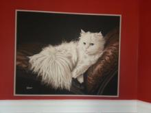 Oil Painting - White Persian Cat