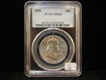 1955 Franklin Half Dollar.  Slabbed MS 64 by PCGS.