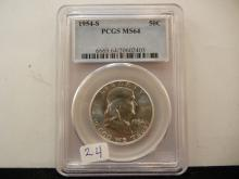 1954-S Franklin Half Dollar.  Slabbed by PCGS as MS 64.