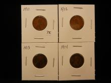 1911, 1912, 1913 & 1914 Lincoln Cents