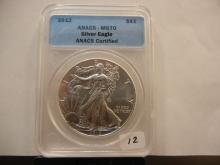 2012 American Silver Eagle $1 slabbed by ANACS as Perfect MS 70.