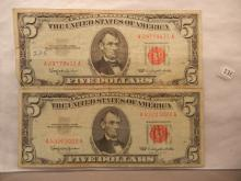 Two - 1963 Red Seal Five Dollar US notes