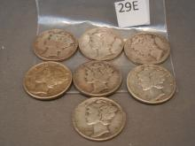Seven Mercury Dimes Mixed Dates