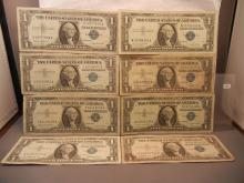 Eight - 1957 One Dollar Silver Certificates