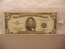 1953-A Blue Seal Five Dollar Silver Certificate