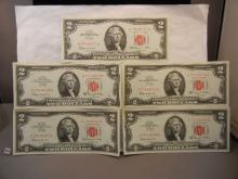 5- 1963  Red Letter Two Dollar US Notes  w/ consecutive serial numbers