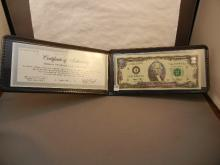 2003  Two Dollar Federal Reserve Note Accented in Silver  w/ COA