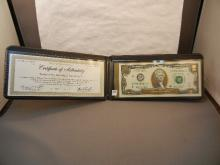 2003 Two Dollar Federal Reserve Note Accented in 22kt  Gold w/ COA