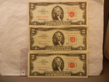 3-  1963  Red Letter Two Dollar US Notes  Crisp