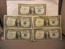5 One Dollar Blue Seal Silver Certificates - 3- 1935 and 2- 1957  Crisp