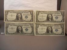 4-  1957 One Dollar Blue Seal Silver Certificates